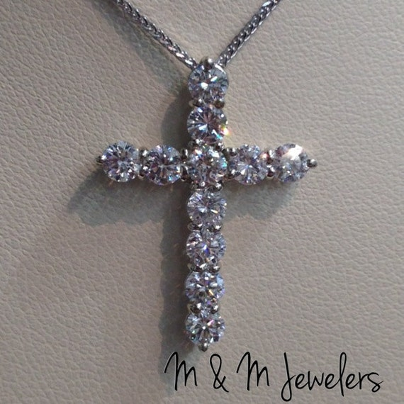 14K White Gold Shared Prong Set Round Brilliant Cut Diamond Cross Pendant tw 1.21ct