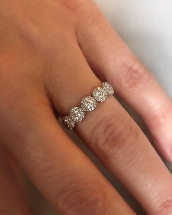 14K White Gold 5 Stone Diamond Halo Wedding/Stacking Band tw.57ct
