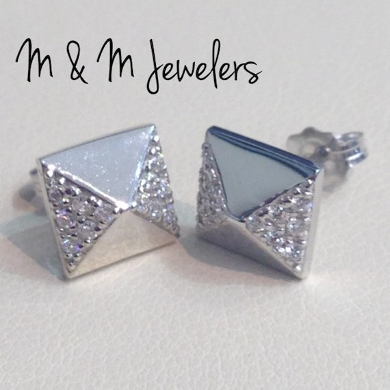 14K White Gold Pyramid Pave Set Diamond Stud Earrings