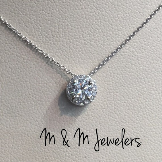 14K White Gold (.36ct) Round Diamond Pavé Halo Pendant