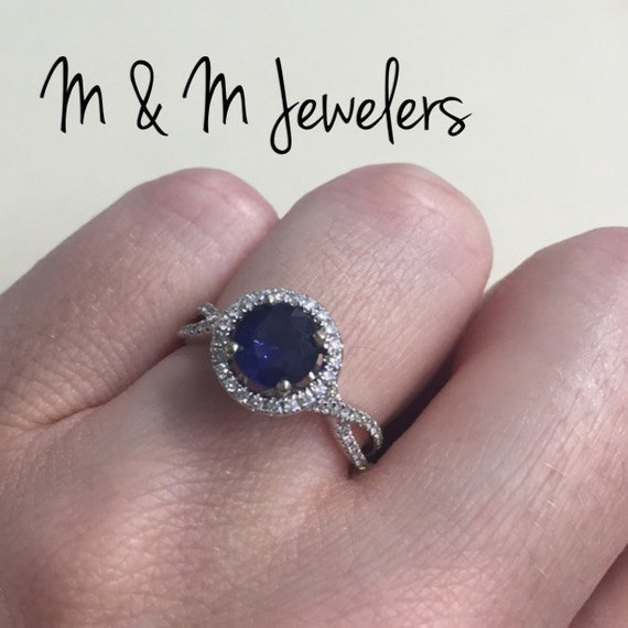 14K White Gold 1.21ct Sapphire Ring with Diamond Pavé Halo and Twisted Band