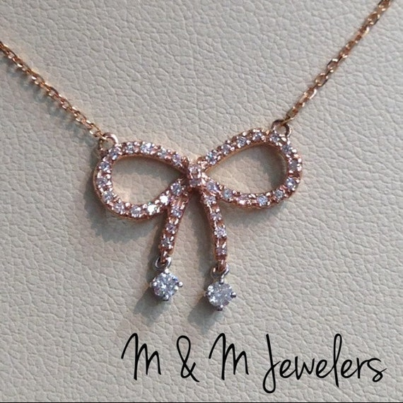 14K Rose Gold Bow Pendant w/ Pave Set Round Brilliant Diamonds tw.27ct with Diamond Cut Rolo Chain