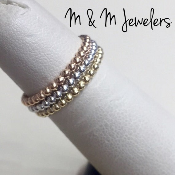 14K Rose, White, and Yellow Gold Bead Stacking Bands