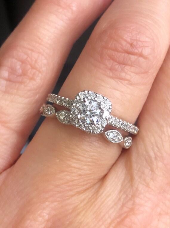 10K White Gold Diamond Halo Engagement/Promise Ring and Wedding Band! 2pc Set! TDW .72ct
