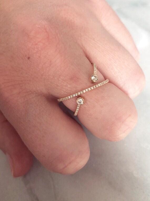 14K Yellow Gold Pavé Diamond Statement Cross X Ring