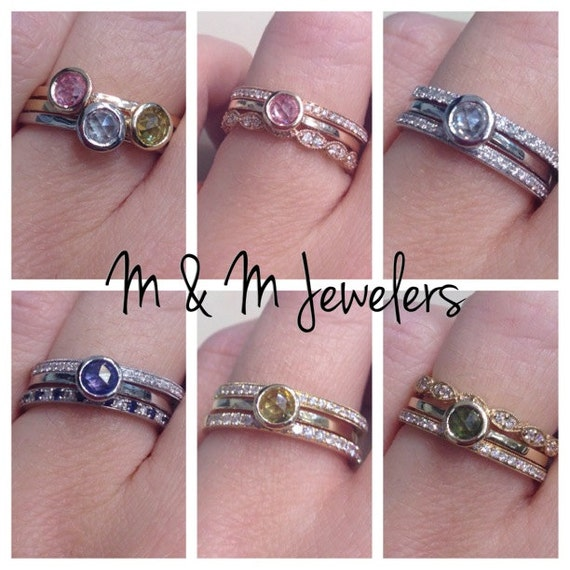 14K Rose, White, and Yellow Gold Bezel Set Round Rose Cut Natural Sapphire Stacking Rings SOLD SEPARATELY