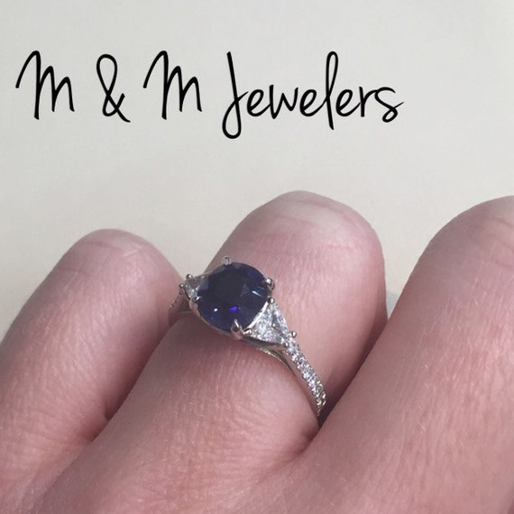 14k White Gold 3 Stone Diamond and Sapphire Ring