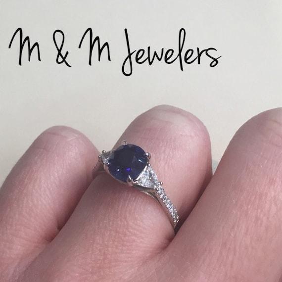 14k White Gold 3 Stone Diamond and Sapphire Ring