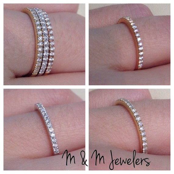 14K Rose, White, and Yellow Gold Pave Set Round Brilliant Cut Diamond Stacking Bands