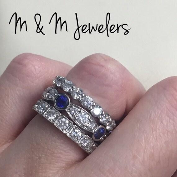 14K White Gold Diamond and Blue Sapphire Band