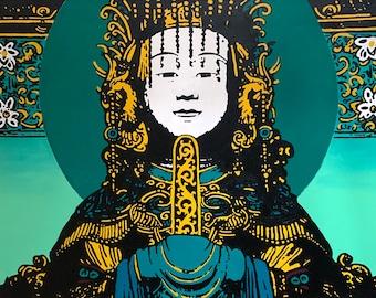 Vietnamese Temple Buddha - Green