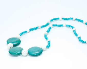 Turquoise and White Statement Necklace
