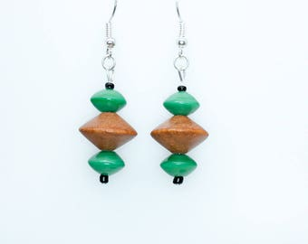 Funky Wood and Turquoise Earrings