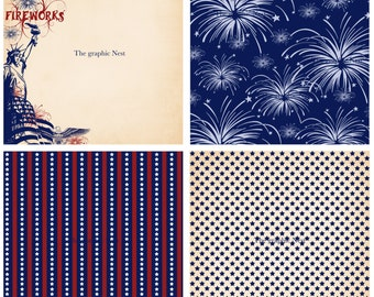 4 (12x12) 4th of July papers. Digital download
