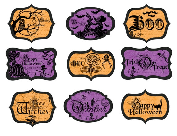 halloween labels etsy