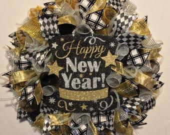 New Yearu0027s Wreath, New Year Wreath, NewYear Wreath, Happy New Yearu0027s,  NewYears Wreath, Wreath, Happy New Year, New Year Decor, New Yearu0027s