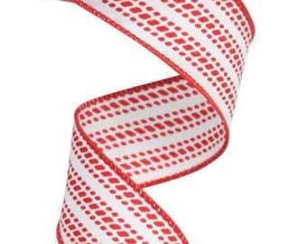 "1.5"" x 10yd dash vertical stripe, white wired ribbon, red wired ribbon, wired ribbon, ribbon, red ribbon, white ribbon, red and white ribbon"