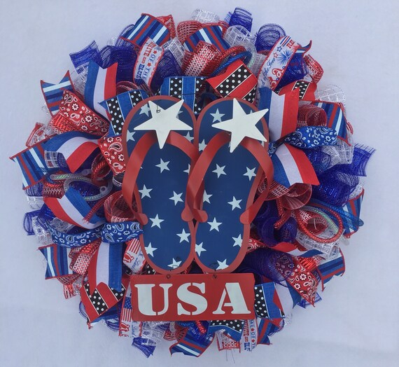 4th Of July Flag Deco Mesh WreathPatriotic Flag WreathFlag WreathAmerica 4th Of July WreathAmerica Heart Flag Wreath