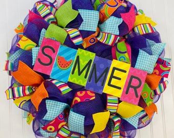 Summer wreath, summer wreath for front door, bright colored wreath, colorful wreath,  celebration wreath, wreaths,  colorful door hanger