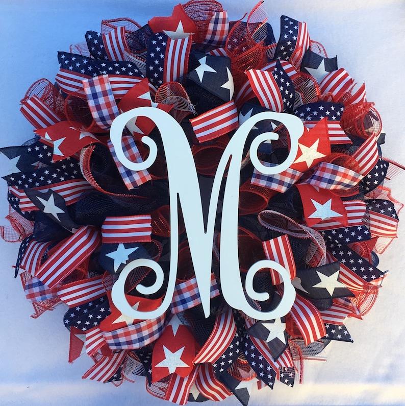patriotic mesh wreath patriotic burlap wreath Fourth of July wreath welcome wreath summer wreath Americana wreath July 4th wreath