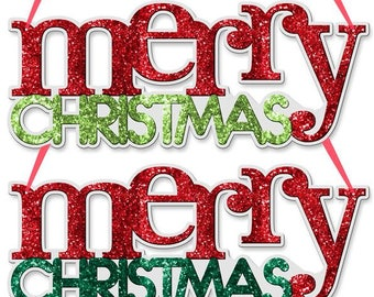 "14.25"" Merry Christmas word sign, Merry Christmas sign, Merry Christmas wreath decor"