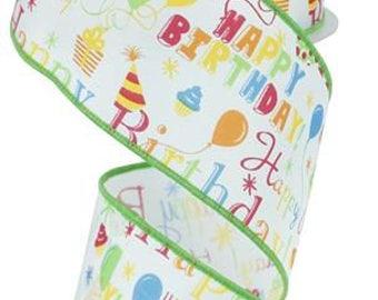 "2.5""x10yd wired Happy birthday ribbon, birthday ribbon, ribbon, wired birthday ribbon, wreath ribbon, birthday bow ribbon, birthday"