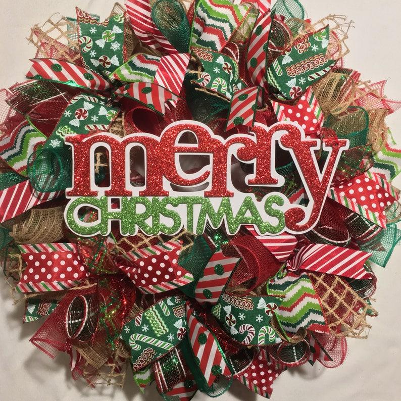 Christmas Wreaths.Merry Christmas Wreath Christmas Wreaths Wreath Burlap Christmas Wreath Christmas Burlap Wreath Christmas Decor Red And Green Wreath