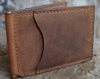 Men's Money Clip Bifold Wallet, Card Wallet, Leather Minimalist Wallet, Front Pocket Wallet