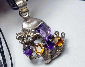 Broschen & Nadeln Uhren & Schmuck Brosche 925 Silber Onyx Mexico Taxco Farben Sind AuffäLlig