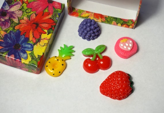Resin Fruits Flatback Cabochons Beads 5 Mixed Fruits Gift Box Etsy