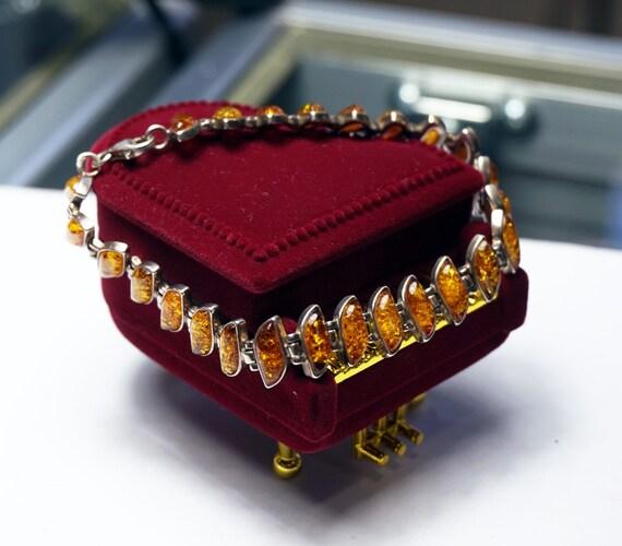 Baltique Miel caramel ou Multicolore Ambre /& Argent Sterling Link Bracelet