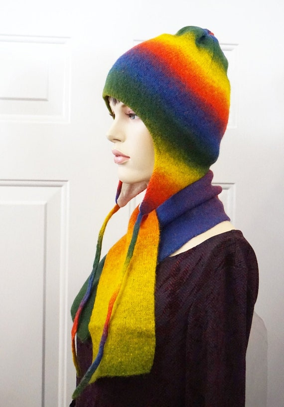 HAT SCARF SET Merino Wool Set Women Hat Long Scarf