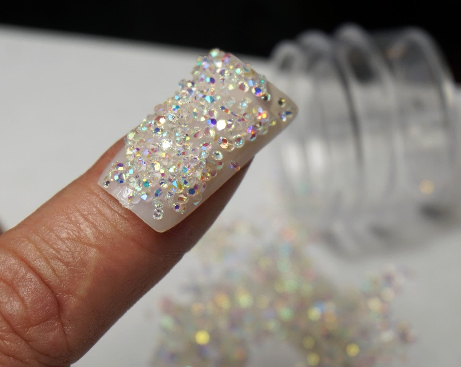 CRISTAUX SWAROVSKI Pour ONGLES Crystal Pixie Dust Micro Zircon Nail  Strassstones For Nail Art 1000 Crystals In Jar Holiday Petit cadeau pour  elle