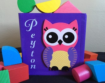 Gift for a one year old girl gift for a two year old girl owl nursery theme gift shape sorter educational eco friendly toy for baby twins