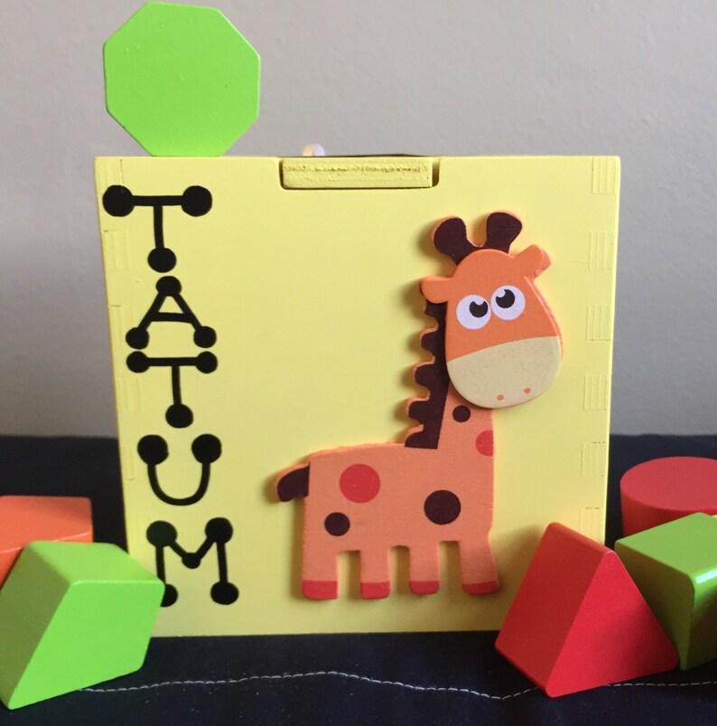 Customized Shape Sorter Yellow Box Baby Toy Giraffe