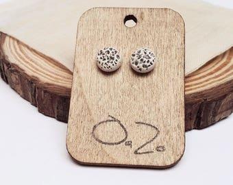 Handmade ceramic OOAK round stud earrings - Textured earrings