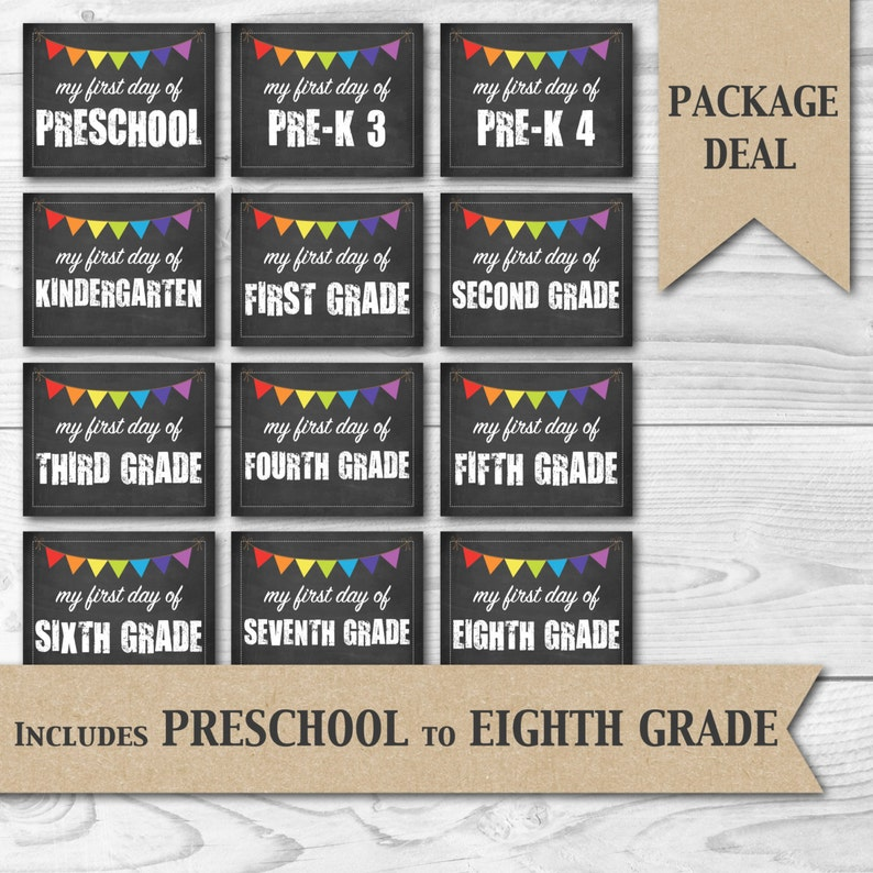 photograph relating to Free Printable Chalkboard Signs called To start with Working day of University Printable Chalkboard Indicators - Contains Preschool in the direction of 8th Quality Printable Image Props Offer Package