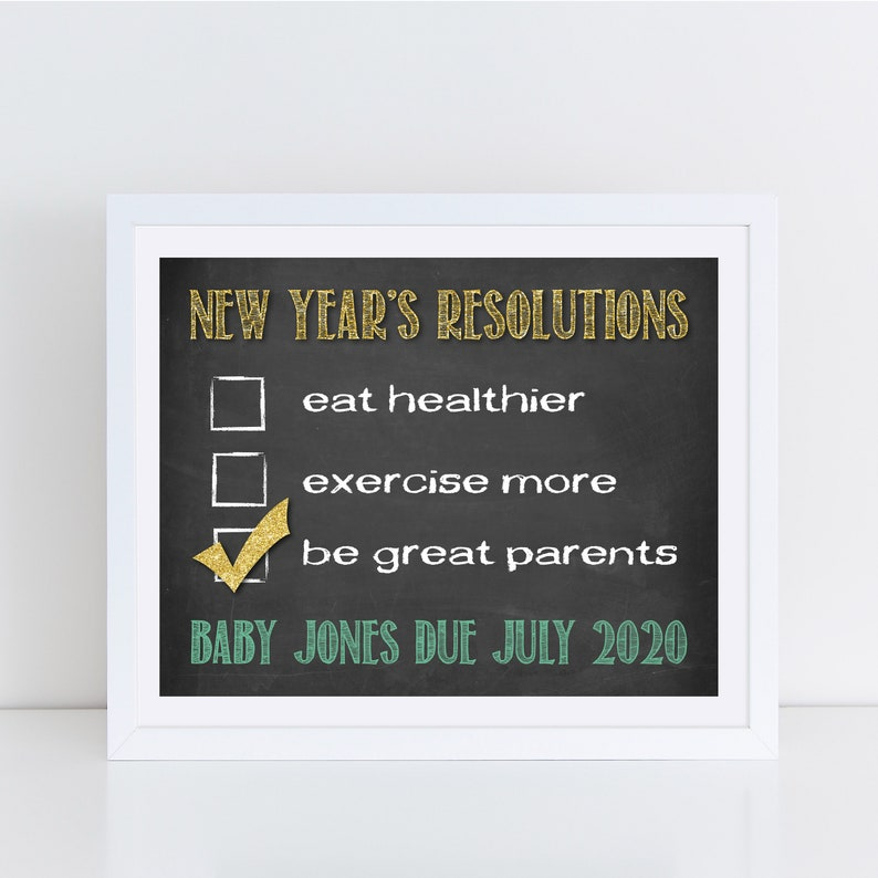 Printable Pregnancy Announcement New Years Card  Custom image 0