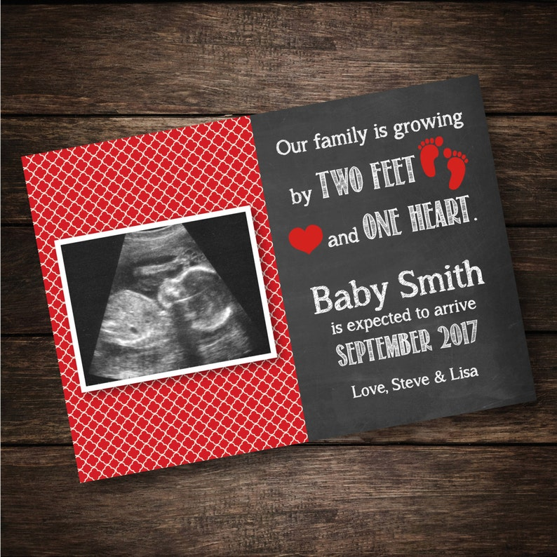 Pregnancy Reveal Growing by Two Feet and One Heart Neutral Red Pregnancy Announcement Card Sonogram Card PRINTABLE DIGITAL FILE