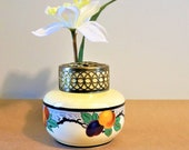 Lusterware ( ) Iridescent Ceramic Flower Arranging Bowl Brass Grid Made in England FREE SHIPPING