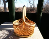 Rustic Woven Wicker Basket Wrapped Handle FREE SHIPPING