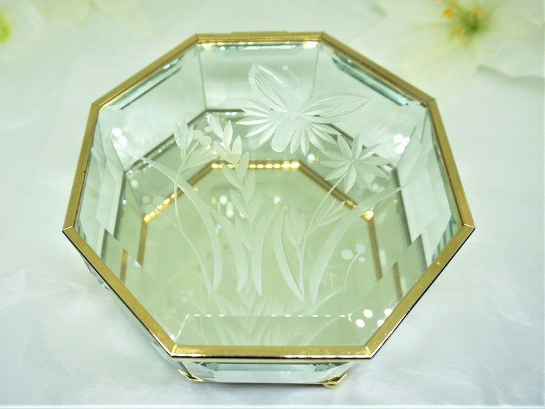 Bevelled Glass; Mirrored; Hexagonal; Hinged Jewel Case; FREE SHIPPING !!!