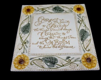 Ceramic; Serenity Prayer; Wall Plaque; Embossed Design !!!