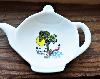 "Ceramic Tea Bag Rest; Souvenir of Rio Grand Valley Texas; Approx. 4.75"" L x 3.5""h; 1982; FREE SHIPPING !!!"
