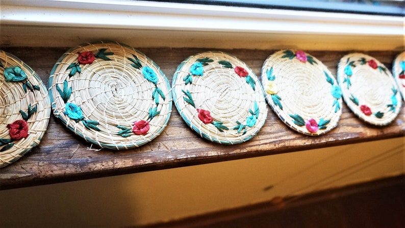 Hand Woven; Straw Coasters; Set of 6; Approx 4 Diameter; Souvenir of Jamaica; FREE SHIPPING !!!