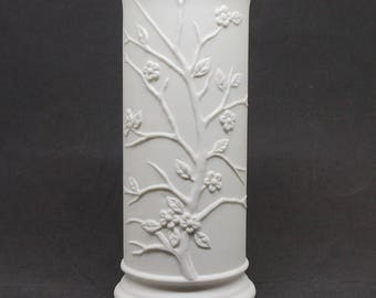 Plum Blossom; Embossed Vase; Glazed Interior; FREE SHIPPING !!!