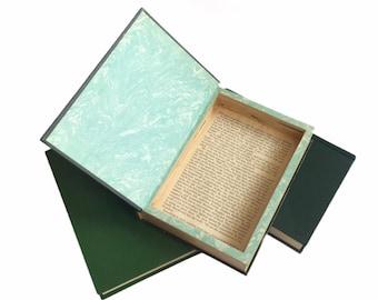 Green Hollow Book Safe   Book Safe  Hollowed Out Book   Book Box   Secret   Gift Box   Stash Box   Diversion   Secret Compartment   Vintage