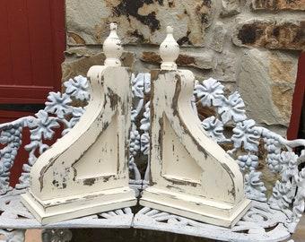 """Corbels - the """"Linda""""- handmade - wood- vintage distressed style pair"""