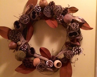 Grapevine wreath with pods