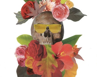 Blooming Skull Collage print